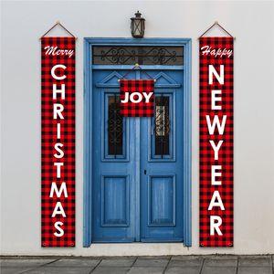 Navidad Couplet puerta Banner Porche sesión del día de fiesta de Navidad Decoración colgante de impresión Couplet jardín al aire libre Feliz decoración 10pcs T1I2455