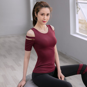 Yoga Clothes Tops 2020 Siboen Spring and Summer New Style Quick-Dry Outer Wear Women's Sexy Strapless Fitness Athletic T-shirt