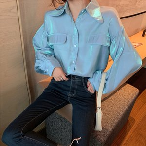 Minimalist Luster Elegant Sweet Women Hot Casual Loose Retro Shirts Solid Korean All Match Puff-Sleeved Brief Tops