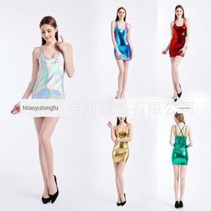 vestido atractivo One-Step 7Ca2l Summer hip-cubierto vestido delgado delgado honda nueva falda falda metálica de un solo paso