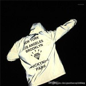 BROOKLYN capucha ocasionales flojas abrigos chaquetas rompevientos hombres de la chaqueta reflectante 3M Diamond imprimir cartas NUEVA YORK