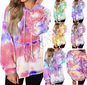 Las mujeres del diseñador sudaderas camiseta cheques otoño con capucha suéter de manga larga de la blusa Ropa Gradiente wALF teñido lazo Sudaderas Tops D81102