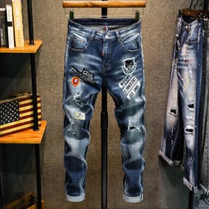 TGU66 High-end fashion fashion brand elastic hand-painted fit multi-position printed slim patch and Badge jeans monkey badge hole jeans men