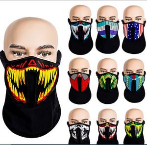 Голос Активированный LED Face Mask Light Up Sound Control Маски для лица Мода Череп Маска для лица противогазы для Halloween Party Revel Косплей E81201