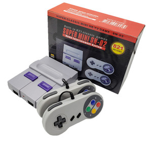 SÜPER MİNİ SN-02 SNES NES Retro Classic Video Oyun Konsolu TV Video Oyunu Player Dahili 821 Games Çift Game HDMI Kablo ABD Tak ile