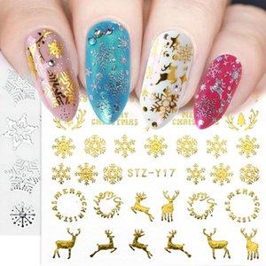 Gold Silver Christmas Nail Sticker Snowflake Flower Moon Elk Water Transfer Decal Xmas Tree Winter Full Wrap Slider SASTZ-YA-1