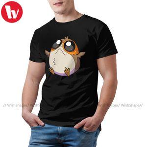 Porg Camiseta Porg T-shirt bonito Fun Impresso camiseta manga curta Mens Básico 100 Cotton 5x Camiseta
