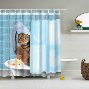 2020 Unicorn and Cat Adventure Printed Shower Curtain Bathroom Products Bathroom Hook Decoration Waterproof Blackout Bathroom Curtain