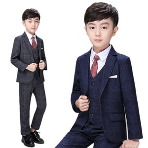 Brand Flowers Boys Suits Children Wedding Formal Suit Tuxedo Dress Party Clothing Blazer Vest Pants 3pcs Set Ceremony Costumes