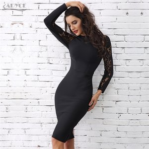 Adyce 2020 Winter Elegant Lace Bandage Dress Women Black Floral Long Sleeve Hollow Out Clubwear Sexy Midi Celebrity Party Dress 0921