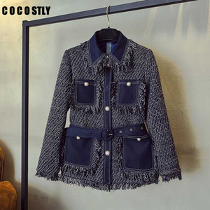 2020 Veste d'automne et d'hiver Jeans de femme Brochage gros pompon en tweed Veste rétro dames simple boutonnage manteaux de laine
