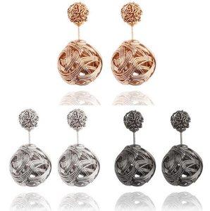 Metallo Shambala Sided intrecciato vite prigioniera Earings qualità sfera Belle Studs Earrings sfere cave Disco High doppio hat7890 uyBtS