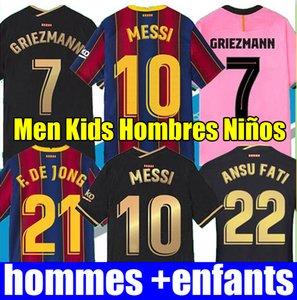 Top Thaïlande Barcelone maillot de football BARCA 2021 MESSI GRIEZMANN SUAREZ ANSU FATI F. DE JONG Maillots 20 21 kits de maillot de football Barcelona hommes enfants