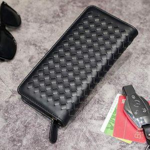 оптовый маленький бумажник мужской пакет Корейский моды тканая кожа мужчины бумажник мода досуга бизнес ручной работы мужчины многофункциональный кошелек