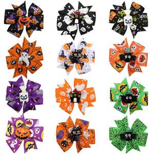 Halloween Cartoon Hairpin 3 pouces ruban Bows Moulin à vent Cheveux Griffes 12 couleurs citrouille Barrettes Cartoon Résine Enfants Accessoires cheveux 060819