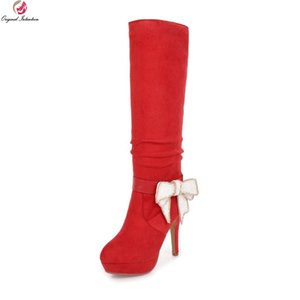 Original Intention Super Elegant Women Knee High Boots Round Toe Thin Heels Boots Beautiful Black Red Shoes Woman US Size 3-8.5