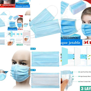 100/50 / 30шт лица Descartável Antipoeira De Proteção Pessoal 3ply Ear Loop LIYZU IDCZ