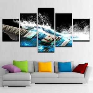 Los lienzos de arte cuadros de la pared Decoración de la sala de 5 Piezas azul abstracto de la guitarra ModularHD impresiones Cartel de la música (No Frame)