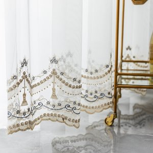 Green Leaf Embroidery Tulle Curtains for Living Room Bedroom Kitchen Modern Sheer Fabric Bay Window Home Decor JK138Y