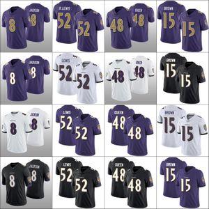 BaltimoreRavensErkekler 8. Lamar Jackson 15 Marquise Brown 48 Patrick Kraliçe 52 Ray Lewis Kadınlar GençlikNFL Futbol Jersey
