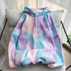 Tie Dyed Casual Hooded Sweatshirt Men Hip Hop Hoodies Men's Harajuku Printing Camo Hoodie Mens Streetwear Hoody 2020 New M-2XL