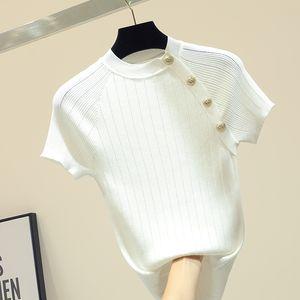 shintimes İnce Örme Beyaz T Gömlek Düğme Kısa Kollu Tişört Kadınlar 2020 Yaz Katı Günlük Tişört Kadın Tee Gömlek Femme