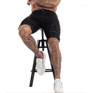 En vrac Shorts Homme Été Designer longueur au genou High Street Fashion Demin court Hommes Vêtements Casual Mens Black Hole