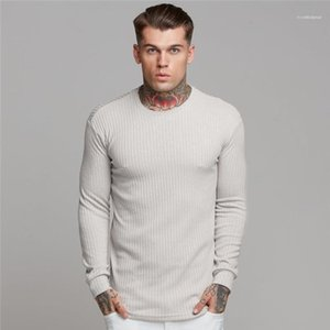 Mens Tops Long Sleeve Solid Color Casual Mens Clothes Mens Designer Tshirts Summer Fashion Slim Crew Neck Sport