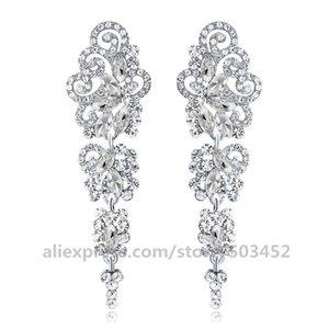 100pairs lot Silver Color Crystal Wedding Earrings Fashion Jewelry Korean Rhinestone Long Earrings For Women Alloy Bridal Aros