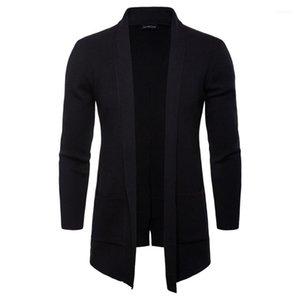 Пальто Мода Knit С Карманный Мужчины Куртки весна осень Mens Open Стич Solid Stand Collar с длинным рукавом Верхняя одежда Casual