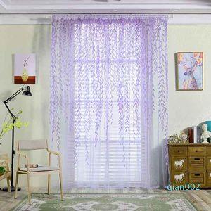 Cortinas bonito Willow folha Tulle cortina cortinas Voile Pastoral Estilo Willow Floral Janela decorativa para quarto sala de estar