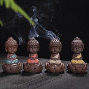 Kleiner Mönch Thurible Dekorative Geschenke Keramik Lila Sand Buddha Räucherstäbchen für Hauptdekor Arts And Crafts DHE1218
