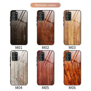 Parlak Ağaç Damarı temperli cam Vaka İçin Samsung Galaxy Note 20 Ultra S20 Ultra Not 10 Artı S10 Artı A71 A70, A50, A30