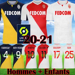 2020 2021 Top qualité AS Monaco BEN YEDDER Maillots de football JOVETIC GOLOVIN 20 21 maillot de pied Flocage JORGE Hommes Shirt Enfants Football