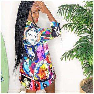 Dress Celebrity Portrait Printed Womens Dress Designer Long Sleeve Shirts Dresses Irregular Hem Fashion Womens Shorts
