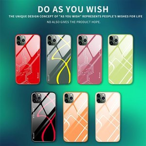 Customized 9h Tempered Glass Hard Back Case For Iphone 6 6s 7 8 Plus Soft Silicone Edge Phone Cover Case Explosion -Proof