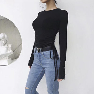 2018 autumn solid slim ruched bandage pullovers for office lady o neck long sleeve basic knitted tops female