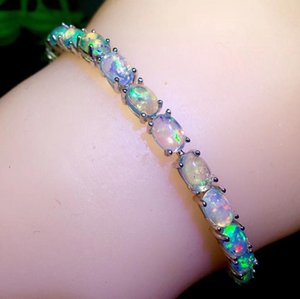 sale luxury natural colorful Opal gemstone bracelet women fine jewelry 925 sterling silver good fireworks natural gem party gift