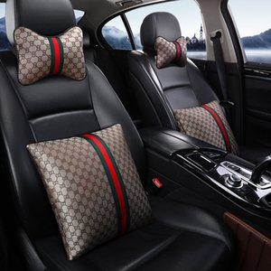 Accessoires de voiture de haute qualité 2 Appui-tête pour siège d'auto Pcs couverture de 6pcs fixé criques de ceinture de sécurité du cou Oreillers couverture volant Pink02