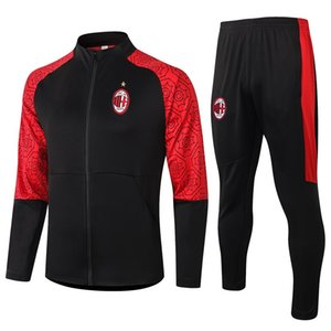 Nouveau 2020 2021 + enfants Vêtements de sport d'AC Homme Football Costume 20/21 Milan Veste de football sport S-2XL