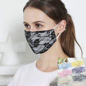 Мода маска для лица лета Корейского кружево двойной дышащая тонкая маска хлопка для женщин холодной ткани пыленепроницаемой маска висит ухо через границу
