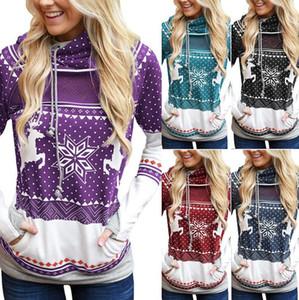 Femmes capuche Hauts Pulls à capuche New Christmas Elk Snowflake imprimé designers chandail T-shirt avec poche Sports Sweatshirts Automne D9305