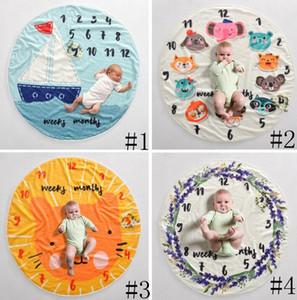 Milestone bébé Couverture des couvertures de fond de photographie infantile props photographie lettres fleurs animaux couverture polaire photographique GGA3635