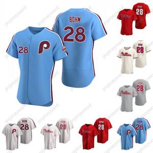 Filadelfia 28 Alec Bohm Jersey de béisbol 100% cosido Custom Hombres Mujeres Jersey Jersey Blanco Azul Rojo Gris S-XXXL