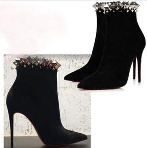 [Original Box] Wedding Dress Boot Red Bottom Velvet Studded Plain Pin Heels Party Style Elegant Style heel Women High Heels Bootie