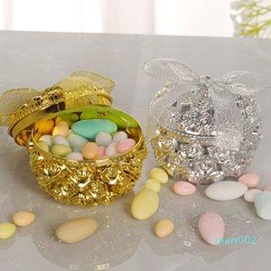 chapado en oro de la vendimia del cielo abierto de la caja del caramelo de Rose Caja de regalo de aromaterapia especias Container bienvenida al bebé de la caja de regalo F20174076