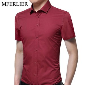 MFERLIER Summer men shirts 5XL 6XL 7XL 8XL 9XL 10XL large size short sleeve Plus size shirts men 8 colors
