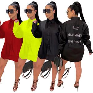 Moda letra impresa de las mujeres camisa de vestir de bebé ganar dinero no amigos impresión de la letra de apertura de cama de cuello de manga larga Camisa de vestir blusas