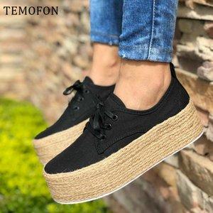 zapatos casuales TEMOFON mujeres de la lona mujeres de la plataforma zapatos blanco negro rojo zapatillas de deporte de verano de las cuñas de los zapatos de lona Calzado mujer HVT871 MX200425