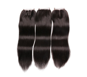 Virgin Indian Human Hair Full Lace Closure Free Middle Three Part 8-18 Inch Straight Hair Extensions